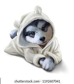 A Husky puppy in a Bathrobe. Watercolor painting