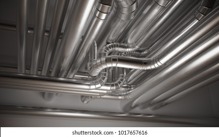 HVAC (heating, ventilation and air conditioning) pipes. 3D rendered illustration.