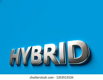 Hybrid 3D sign or logo concept placed on blue surface with copy space above it. New hybrid technologies concept. 3D rendering