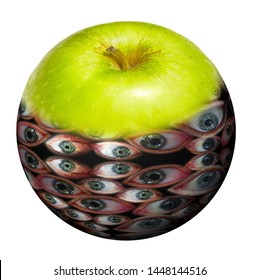 Hybrid image of green apple filled with human eyes on white background