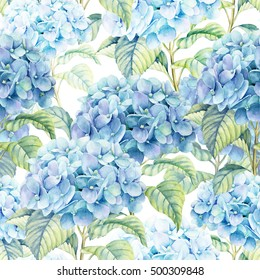 Hydrangea  watercolor illustration. Seamless background of blue flower