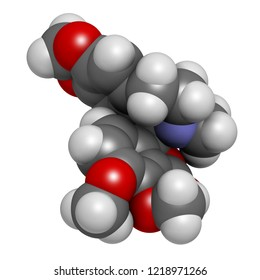 Hydrastine herbal alkaloid molecule, found in Hydrastis canadensis (goldenseal). 3D rendering. Atoms are represented as spheres with conventional color coding: hydrogen (white), etc