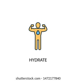 hydrate concept 2 colored line icon. Simple yellow and blue element illustration. hydrate concept outline symbol design