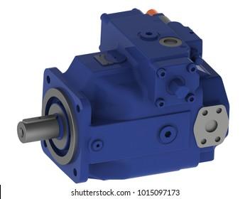 Hydraulic axial piston variable pump high pressure, 3D rendering