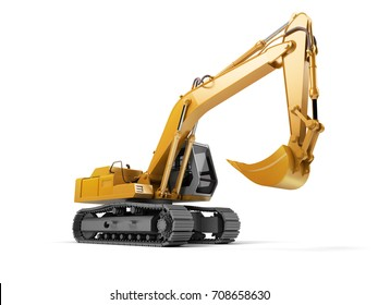 Hydraulic Excavator with bucket. 3d illustration. Front side view. Wide angle. Isolated on white background
