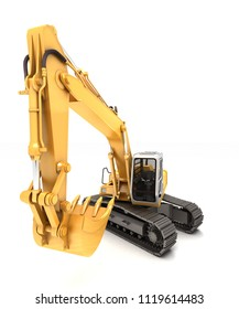Hydraulic Excavator with bucket at foreground. 3d illustration. Front view. Wide high angle view. Isolated on white background
