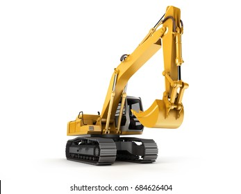 Hydraulic Excavator. Front view. Isolated on white background