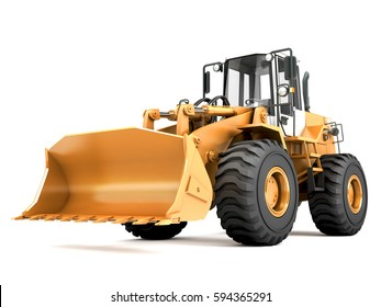 Hydraulic loader. Front view. 3D rendering isolated on white