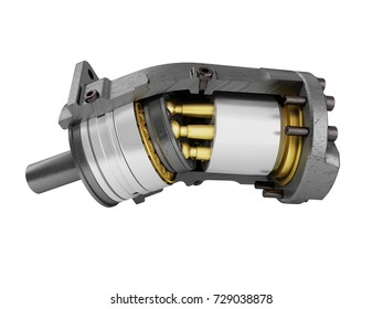Hydraulic motor in a section of gold on the left 3d render on a white background no shadow