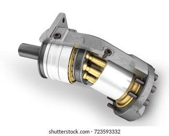 Hydraulic motor in a side view 3d render on a white background