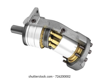 Hydraulic motor in a side view 3d render on a white background no shadow