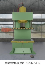 Hydraulic press stamping machine for forming metal sheet, Industrial metalwork manufacturing. 3D rendering image