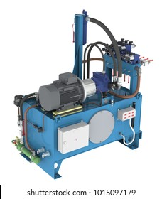 Hydraulic pump station high pressure with water cooler, unit valves, thermostat (3D rendering)