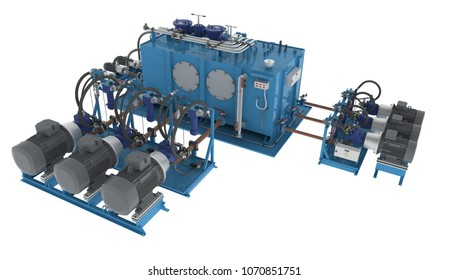 Hydraulic pump station high pressure with unit pumps, unit valves, thermostat (3D rendering)