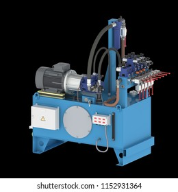 Hydraulic pump station high pressure with unit pumps, unit valves, (3D rendering)