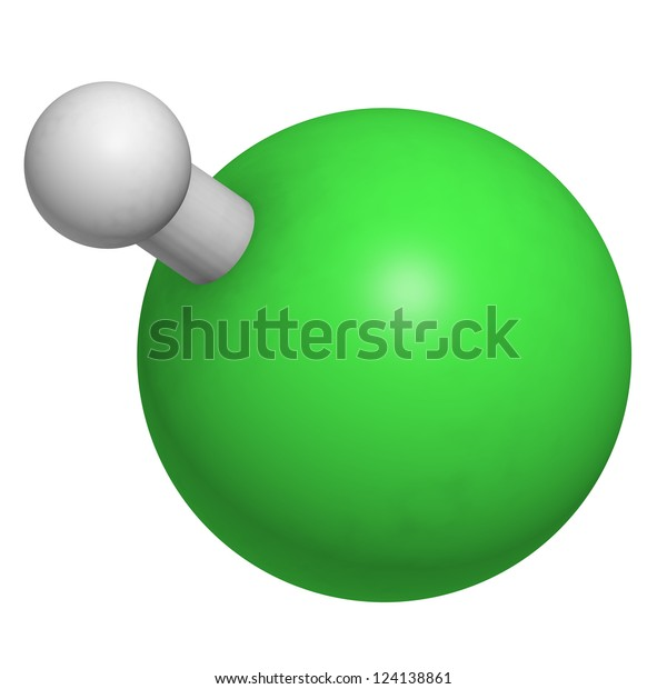 Hydrogen Chloride Hcl Molecule Chemical Structure Stock