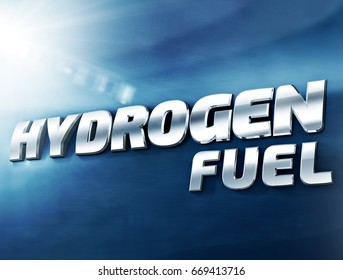 Hydrogen Fuel car 3D plate concept placed on glossy-metallic car body like surface. New technology ecologic car symbol concept.