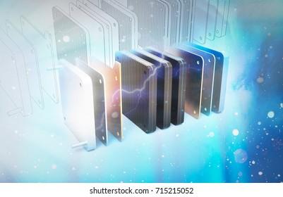 hydrogen fuel cell 3d illustration