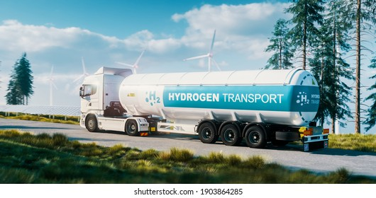 Hydrogen gas transportation concept. Truck with gas tank trailer in fresh nature with solar panel and wind turbine in background. 3d rendering.
