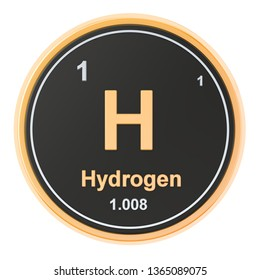 Hydrogen H chemical element. 3D rendering isolated on white background
