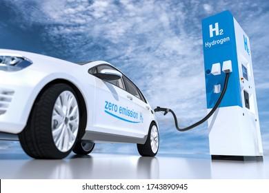 Wasserstofflogo auf Tankstellen Brennstoffspender. h2 Verbrennungsmotor für emissionsfreien, umweltfreundlichen Verkehr. 3D-Darstellung