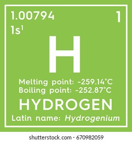 Hydrogen. Other Nonmetals. Chemical Element of Mendeleev's Periodic Table. Hydrogen in square cube creative concept.
