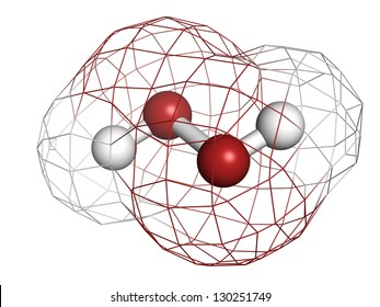Hydrogen peroxide (H2O2) molecule, chemical structure. HOOH is an example of a reactive oxygen species (ROS). H2O2 solutions are often used in bleach and cleaning agents. Atoms represented as spheres