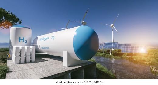 Erzeugung erneuerbarer Energien von Wasserstoff - Wasserstoffgas für umweltfreundliche Strom-Solar- und Windkraftanlagen. 3D-Darstellung.