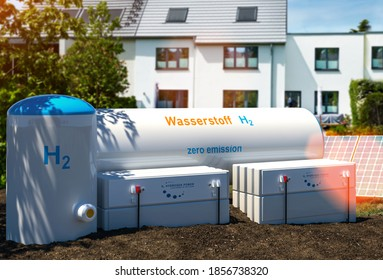 """Hydrogen renewable energy production - hydrogen gas for clean electricity at private real estate home. print says """"Wasserstoff"""", thats the german word for """"Hydrogen"""". 3d rendering"""