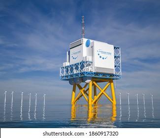 Förderung erneuerbarer Energien im Offshore-Bereich - Wasserstoffgas für umweltfreundliche Solar- und Windkraftanlagen. 3D-Darstellung.