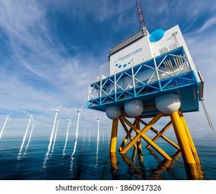 Stromerzeugung aus erneuerbaren Wasserstoffprodukten im Offshore-Bereich - Wasserstoff-h2-Gas für umweltfreundliche Solar- und Windkraftanlagen. 3D-Darstellung.