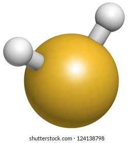 Hydrogen sulfide (H2S) molecule, chemical structure. H2S is a toxic gas with the odor of rotting eggs.