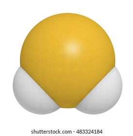 Hydrogen sulfide (H2S) molecule. Toxic gas with characteristic odor of rotten eggs. 3D rendering. Atoms are represented as spheres with conventional color coding: hydrogen (white), sulfur (yellow).