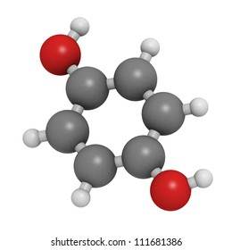 Hydroquinone (quinol) molecule, chemical structure. Hydroquinone is a compound used for skin depigmentation (lightening).