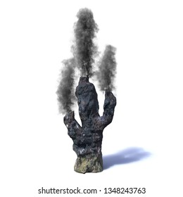 hydrothermal vent, black smoker (3d rendering isolated on white background)