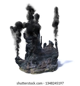 hydrothermal vents, black smoker (3d rendering isolated on white background)