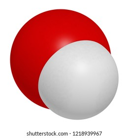 Hydroxide anion, chemical structure. 3D rendering. Atoms are represented as spheres with conventional color coding: hydrogen (white), oxygen (red).