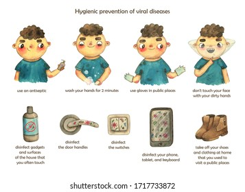 Hygienic prevention of viral diseases. Watercolor banner.