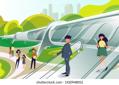 Hyperloop station with people. Public transport of future. illustration