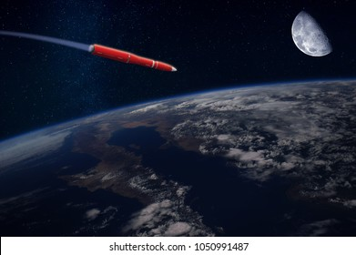 Hypersonic missile or rocket over the Earth. Blue Moon in the sky. Elements of this image furnished by NASA