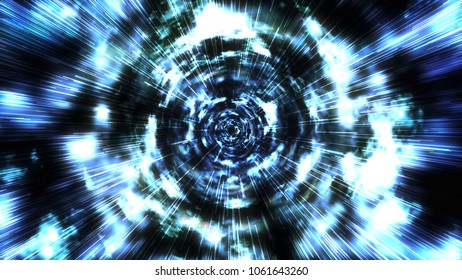 Hyperspace jump through the stars to a distant space. Abstract light speed interstellar travel concept. High detail space warp journey through a wormhole. Ultra high resolution (4k)