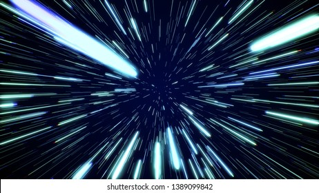 Hyperspace jump through the stars to a distant space. Speed of light, neon glowing rays in motion. Lightspeed space journey through time continuum. Warp journey in wormhole 3D illustration