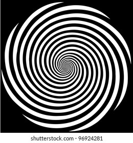 Hypnosis Spiral Design Pattern. Concept for hypnosis, unconscious, chaos, extra sensory perception, psychic, stress, strain, optical illusion, headache, migraine. Black background.