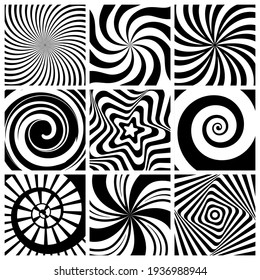 Hypnotic background. Circular swirl wallpaper spiral twist round shapes geometric abstract lines collection