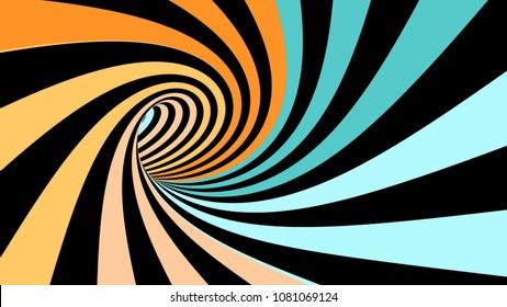 Hypnotic spiral illusion 3D rendering