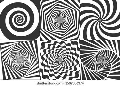 Hypnotic spiral. Swirl hypnotize spirals, vertigo geometric illusion and rotating stripes round pattern. Optical psychedelic delusion, hypnotherapy spiral illusion  illustration set