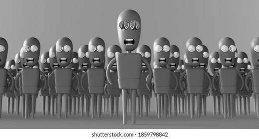 Hypnotized zombie people. Mass media addiction. Television manipulation and mind control. Brainwashing concept. 3d render 3d illustration