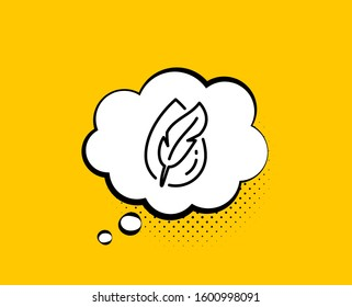 Hypoallergenic tested line icon. Comic speech bubble. Feather sign. No synthetic symbol. Yellow background with chat bubble. Hypoallergenic tested icon. Colorful banner.