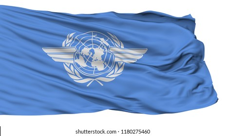 Icao International Civil Aviation Organization Flag, Isolated On White Background, 3D Rendering
