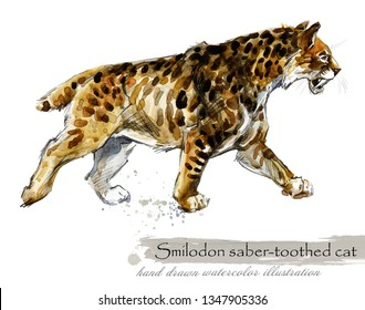 Ice Age wildlife. prehistoric period fauna. Smilodon. Saber toothed cat. watercolor animal.